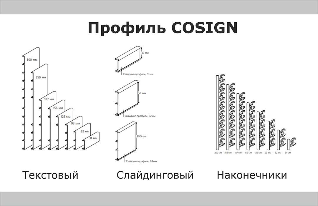 Рисунки разрезов профилей COSIGN и наконечников